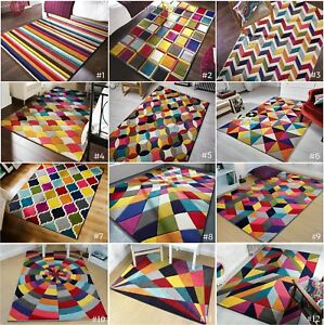 SMALL-LARGE-VIBRANT-FUNKY-MULTI-COLOURED-GEOMETRIC-SOFT-PILE-MODERN-SPECTRUM-RUG