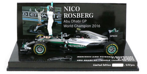 Minichamps Mercedes W07 Abu Dhabi 2016-Nico Rosberg con figura 1//43 Escala