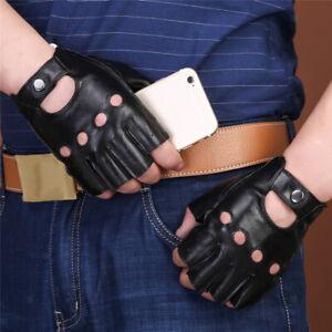 4ed48089bfebe8 Das Bild wird geladen Herren-Damen-Lederhandschuhe-Halbfinger-fingerlose- Handschuhe-Fahrhandschuh