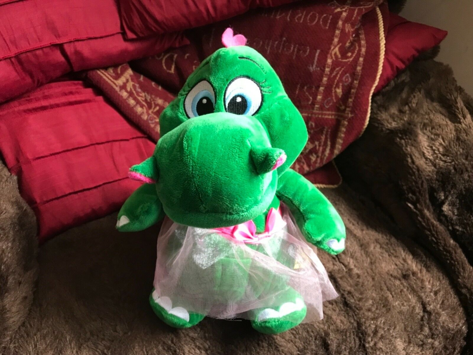 "LEGOLAND GREEN DRAGON SOFT TOY PLUSH WEARING PINK BALLET SKIRT 12"" NEW NO TAGS"