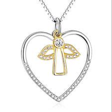 Angelo placcato oro cuore bianchi Cristallo Ciondolo Collana 925 Silber