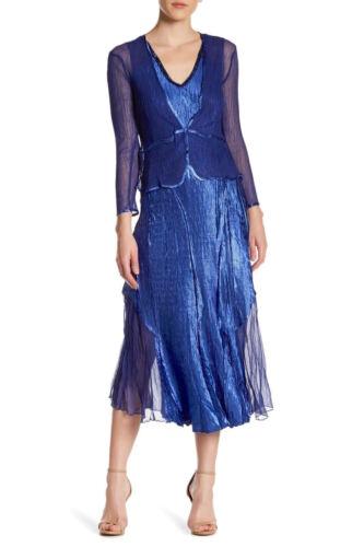 Jacket Set M KOMAROV Navy Blue Beaded V-Neck Chiffon Charmeuse Midi 2pc Dress