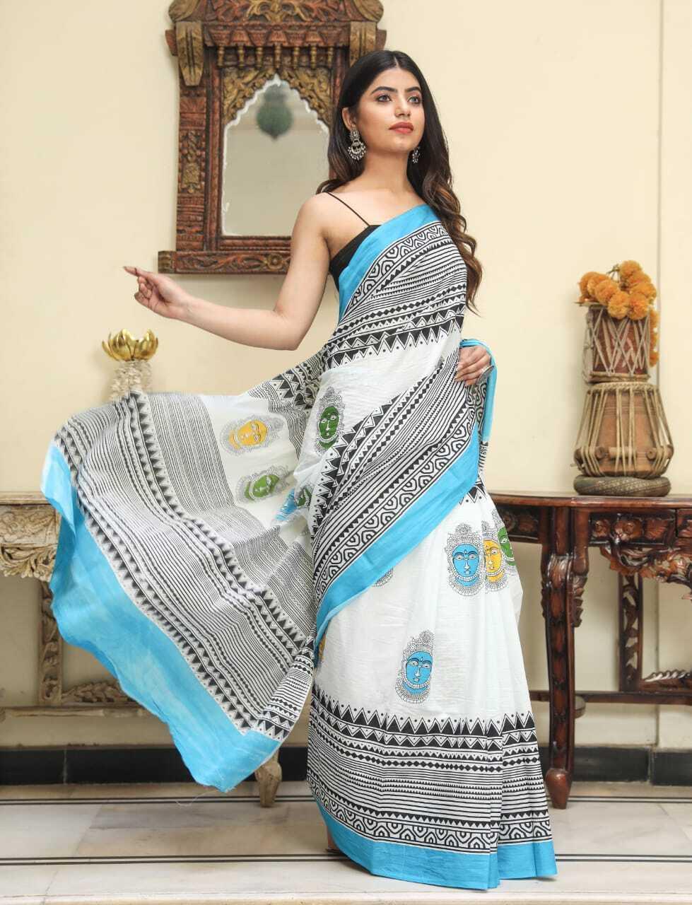 Latest Sanganeri Designer Handblock Hand Printed Cotton Saree For Women & Blouse