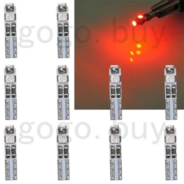 10 x Red 58 70 73 74 T5 Dashboard Gauge License Plate 3 3528 SMD LED Bulb Light