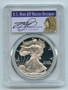 2000-P-1-Proof-American-Silver-Eagle-1oz-PCGS-PR69DCAM-Thomas-Cleveland-Native