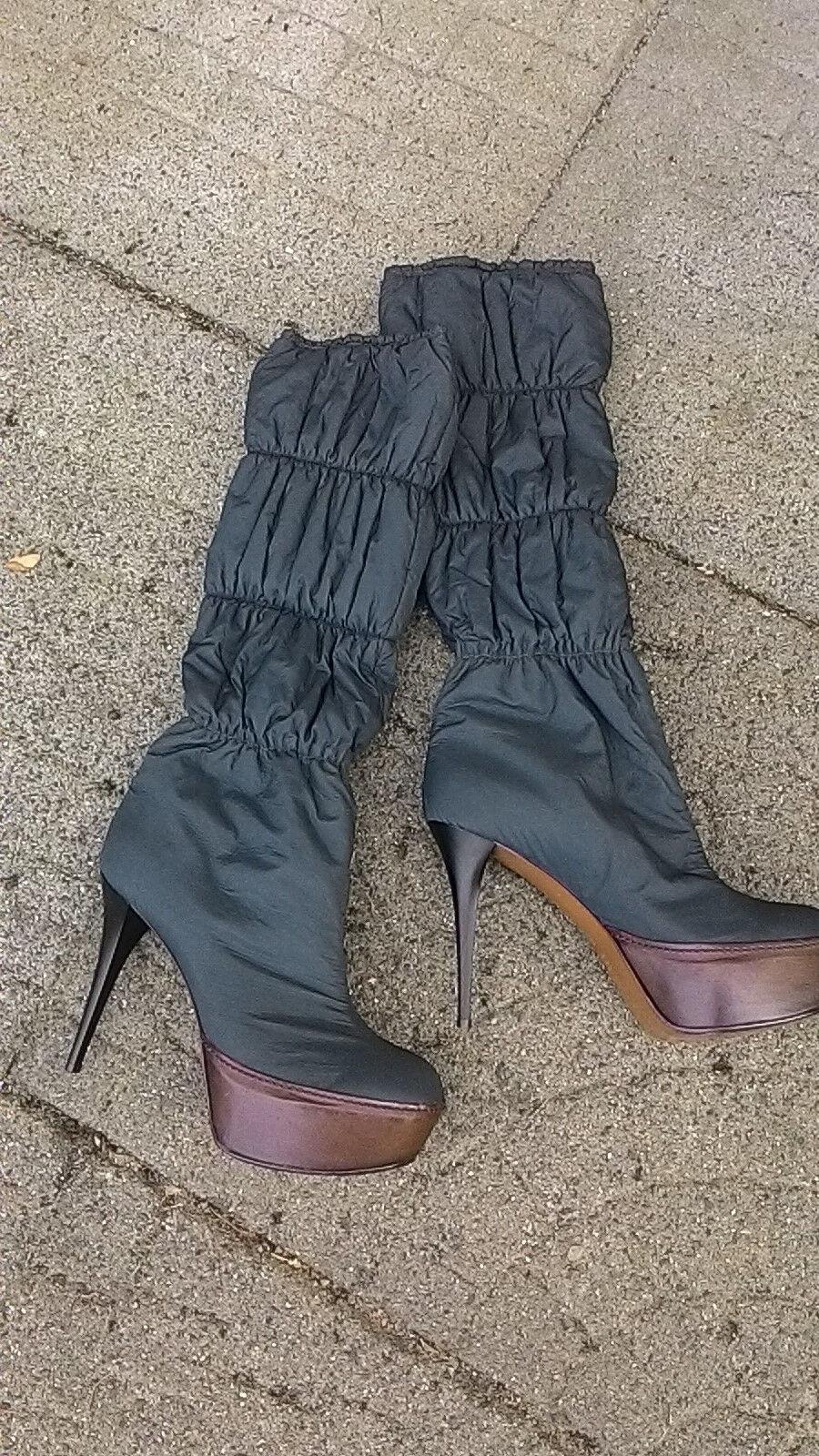 MARNI Blau KNEE Stiefel HIGH Heel PLATFORM Stiefel KNEE BN GENUINE  Größe 41+ LEATHER TRIM b10ffd