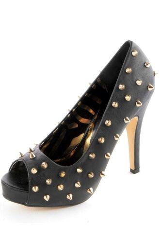 Iron Fist Abbey Platform Dawn Avril Lavigne Wth Platform Abbey Gold Pyramid Studs Heels Shoes 32e754
