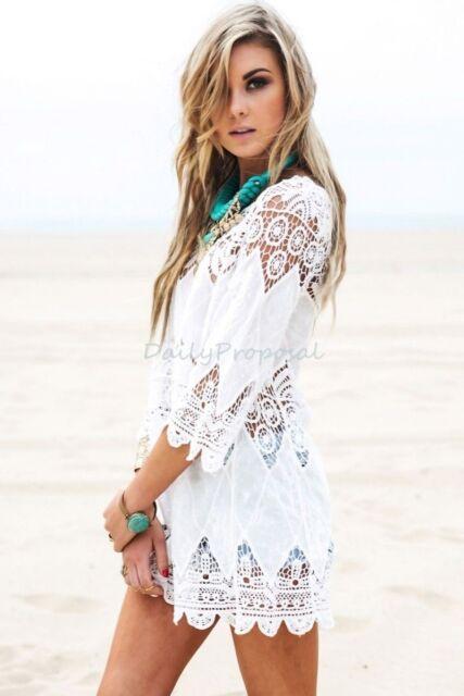 dbba2c282c Lady Cotton Lace Hollow Crochet Swimwear Bikini Beach Cover Up Tunic Dress  White