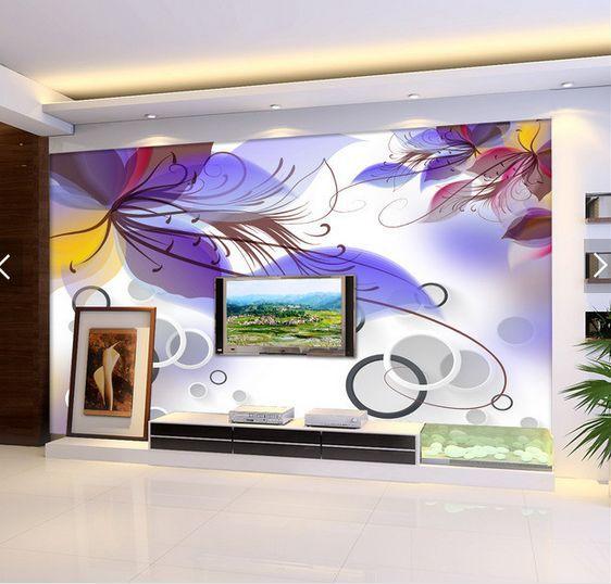 3D purple Blätter, Kreis 76 Fototapeten Wandbild Fototapete BildTapete Familie