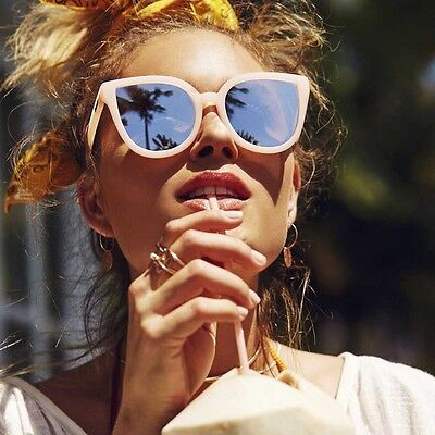 "NEW QUAY AUSTRALIA Pink/Silver ""PARADISO"" Cat-Eye Sunglasses -SALE"