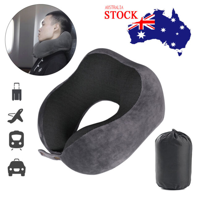 Portable Travel Sleeping Pillow Memory Foam Rebound Neck Support Headrest Pad AU
