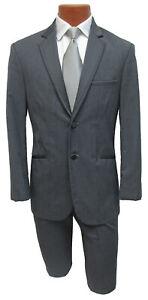 34R Steel Gray Twilight Modern Fit Tuxedo Jacket Flat Front Pants Charcoal Grey