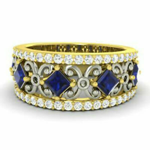 Princess 1.40 Ct Real Blue Sapphire Eternity Band 14K Yellow Gold Size M N P Q