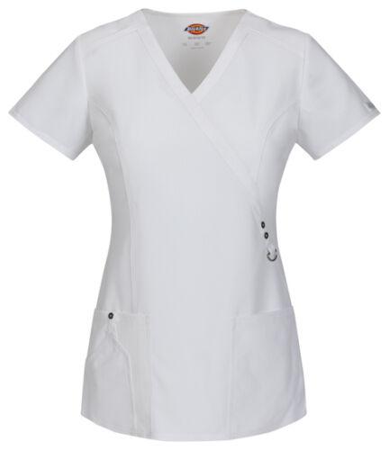Dickies Scrubs Short Sleeve Top 85956 DWHZ White Free Shipping
