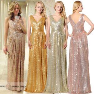 Plus Size Sequins Bridesmaid Formal Evening Dresses V-neck Long Prom ...