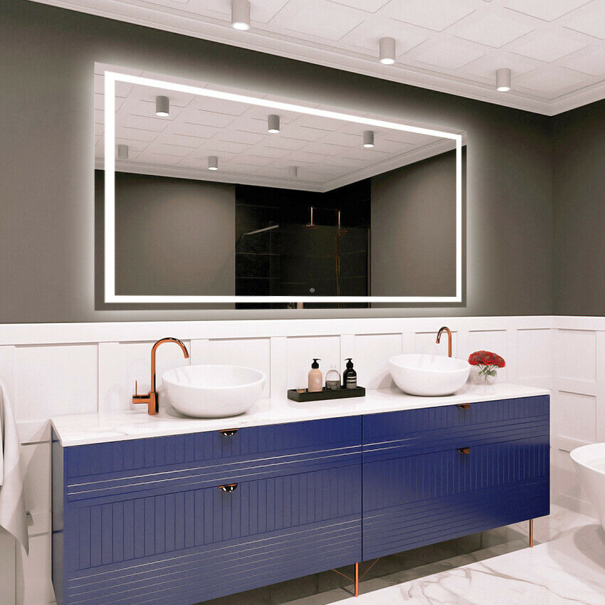 LED Illuminated Bathroom Wall Mirror Touch switch Größe Variants - DELUXE M1ZD-47