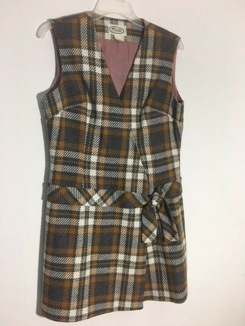 Adorable Plaid Wool Mod Vintage Dress