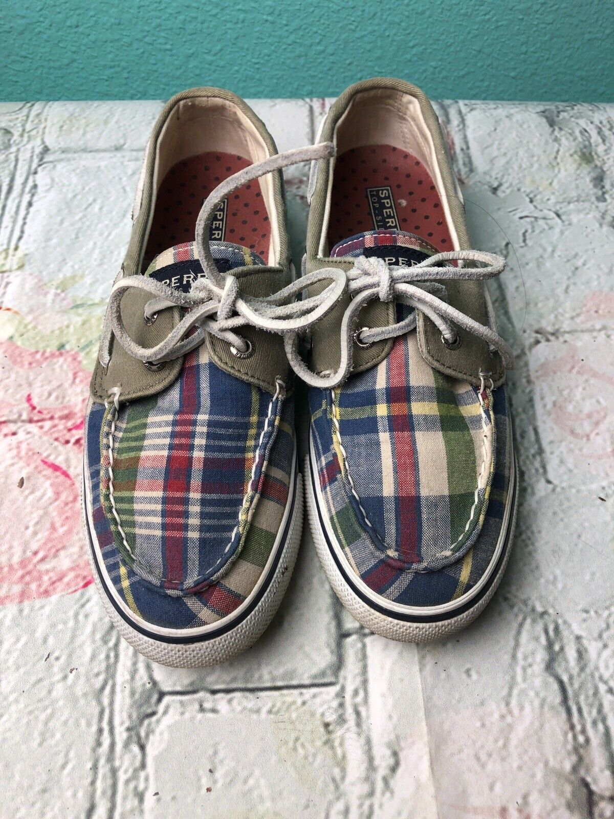 Women's Sperry Top Sider Size 6 1/2 Boat Shoes Plaid Leather Lace up