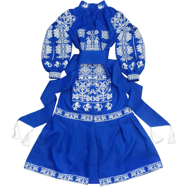 Broderad blå klänning, boho -stil, ukrainsk folketnisk vyshyvanka.Alla storlekar