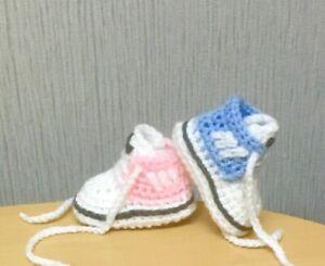 Handmade Crochet Baby Shoes Trainers Booties Wool Ebay