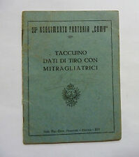 MANUALE LIBRETTO 23° REGGIMENTO FANTERIA COMO TIRO MITRAGLIATRICE BREDA 1914 WWI