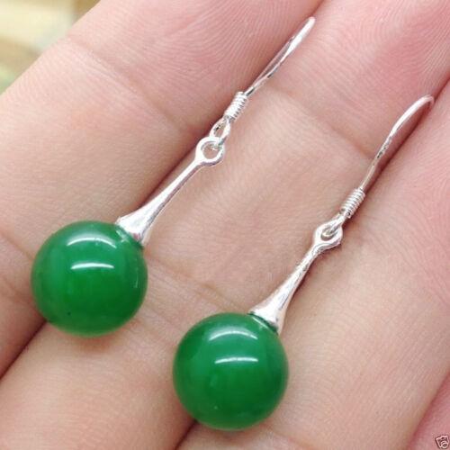 Pretty New Natural Green Jadeite Jade Silver hook Earrings