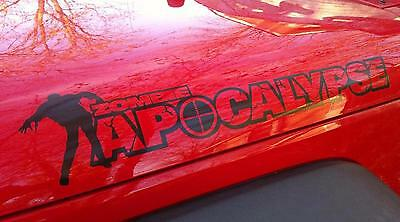 2 Zombie Apocalypse Hood Wrangler Rubicon CJ YJ TJ JK  Vinyl Sticker Decals