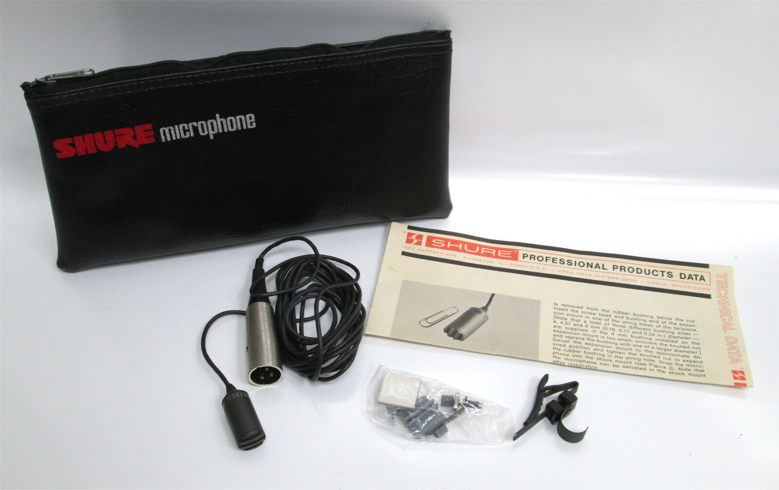 Shure SM17 SM-17 Miniature Dynamic Omnidirectional Lavalier Microphone Mic  2