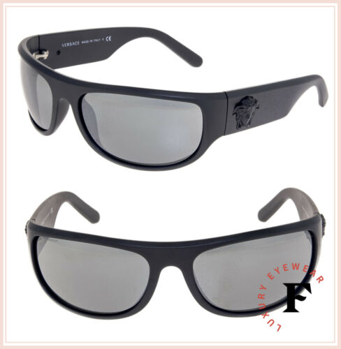 VERSACE Men Black Medusa Wrap Sunglasses VE4276 Matte Grey Silver Mirrored 4276