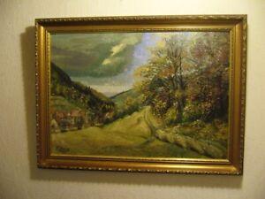 Altes-Gemaelde-von-1947-Landschaft-Dorf-K-Haug-evt-Kristian-Haug-Norwegen