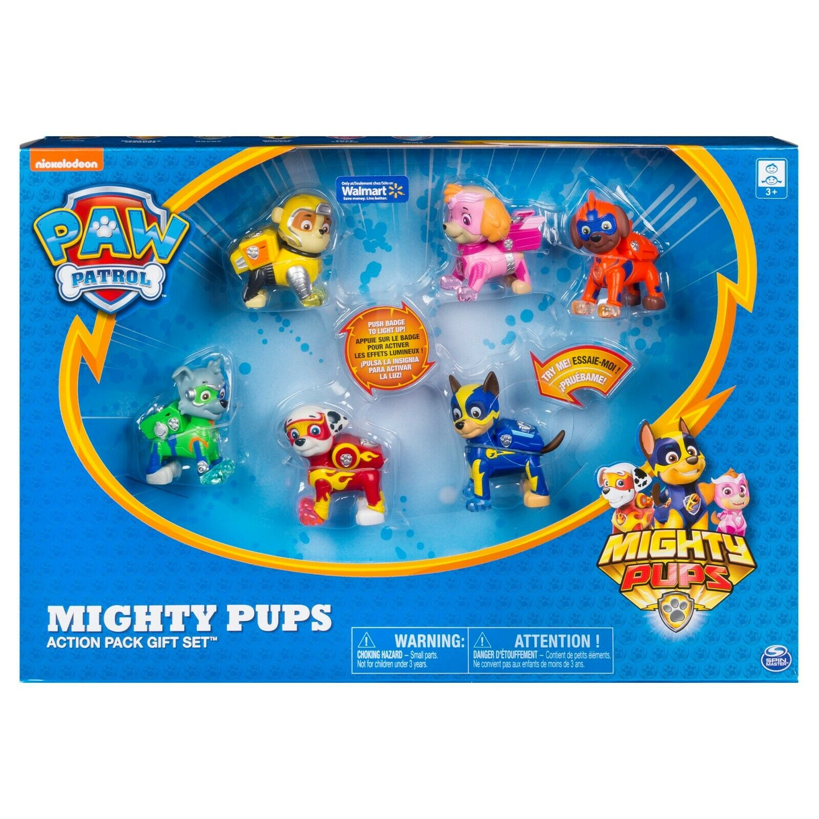 PAW Patrol - Mighty Pups 6-Pack Gift Set, PAW Patrol Figures with Light-up Badge