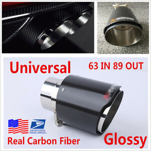 Vehicle Parts & Accessories Tailpipes & Centre Pipes 1pcs Oval Steel+Real Carbon Fiber Exhaust Tip Pipe  63mm 89mm Out Muffler Tip