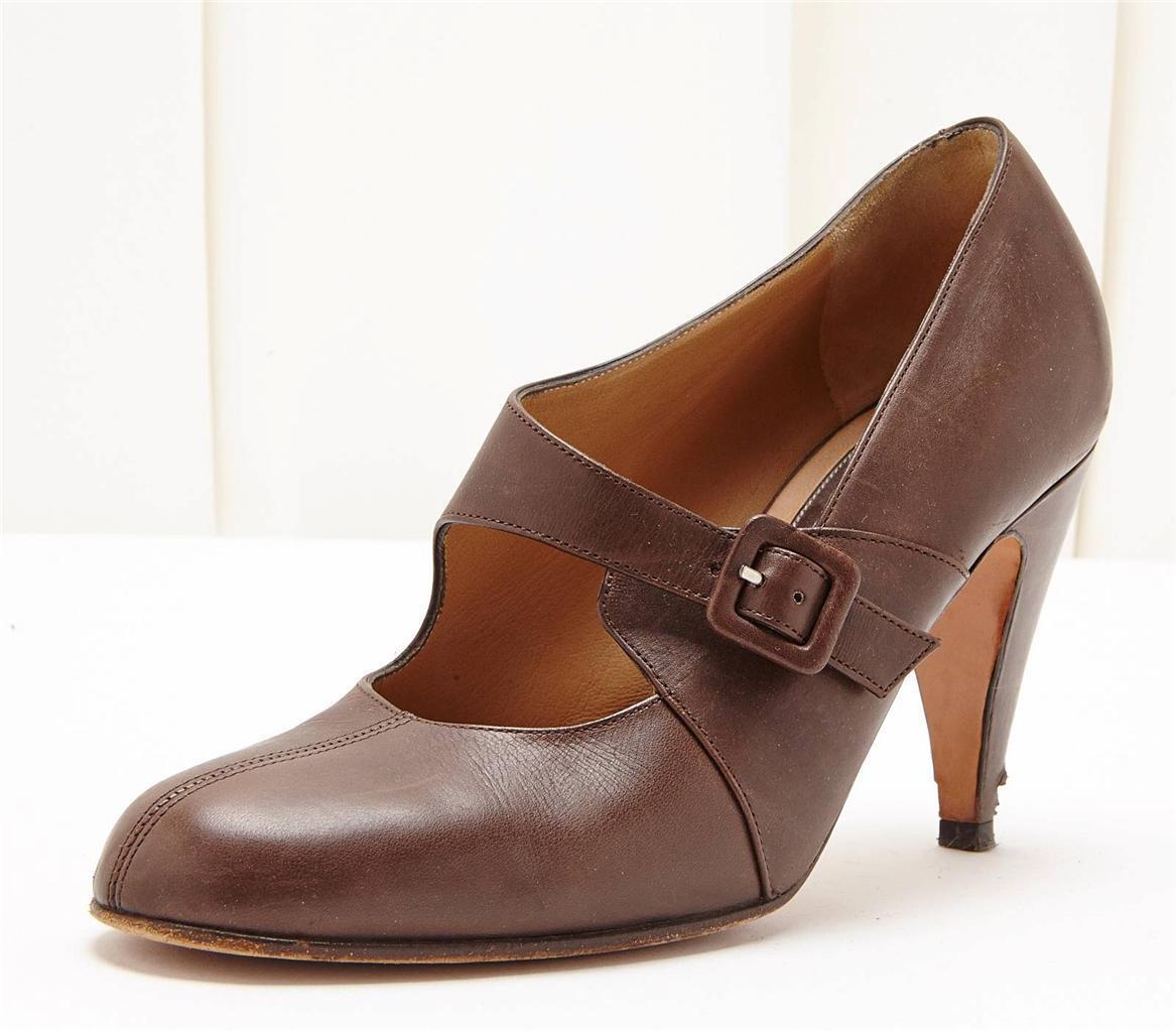 MARNI Braun Leder Buckle Detail Classic High Heel Pump Schuhe 7.5 37.5