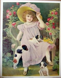 art print~A HAPPY FAMILY~Victorian Girl with Puppies Child roses vtg repro 15x19