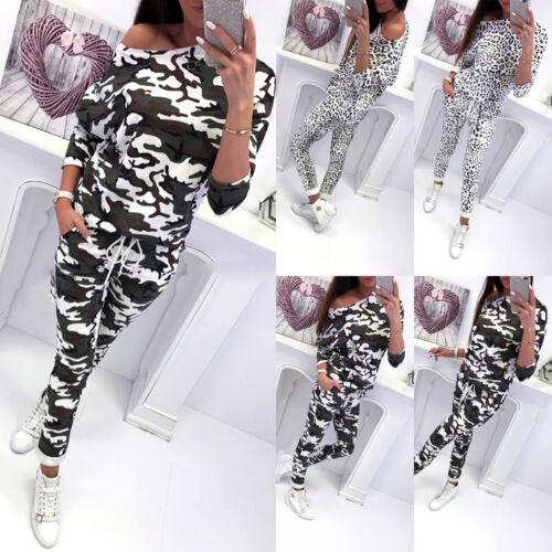2PCS Womens Camouflage Tracksuits Set Lounge Wear Ladies Top Suit Pant Plus Size