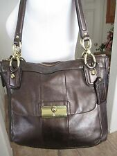 COACH #18808 'Kristin Elevated' Metallic Bronze Leather Shoulder Tote Handbag