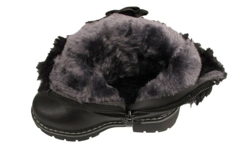 Girls Kids Infants Warm Fur Lined Collar Black Flower Pearl Fashion Ankle Boots