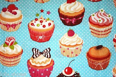 """CUPCAKE Curtain Upholstery 100% Cotton Fabric Material 63""""/160cm wide any length"""