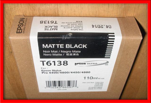 10-2016 NEW IN BOX GENUINE  EPSON T6138 MATTE BLACK INK CARTRIDGE FOR 4450 4880