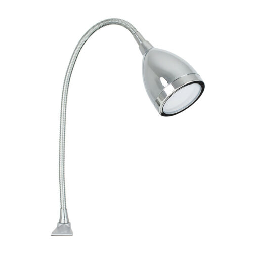 Chrome Finish 6W LED Cool White Integrated Desk Clamp Lamp Flexible Neck Grey