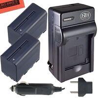 Bm Np-f970 2x Batteries & Charger For Sony Hvr-z7u Hxr-nx5u,mc2000u,nx100