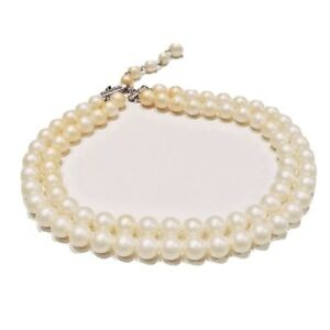 VINTAGE-JEWELRY-1950s-Double-Strand-Faux-White-Pearl-Round-Bead-Collar-Necklace