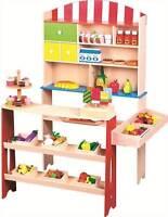 Kid Wooden Supermarket Toy Play Set Grocery Food Shop Children Game Role Pretend