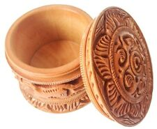 Round Wood Hand Carved Jewelry/ Tobacco Or Coin Box From India