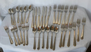 Hampton Silversmiths HSV165 Stainless W/Gold Edges 36 Pc Knives, Forks, Spoons
