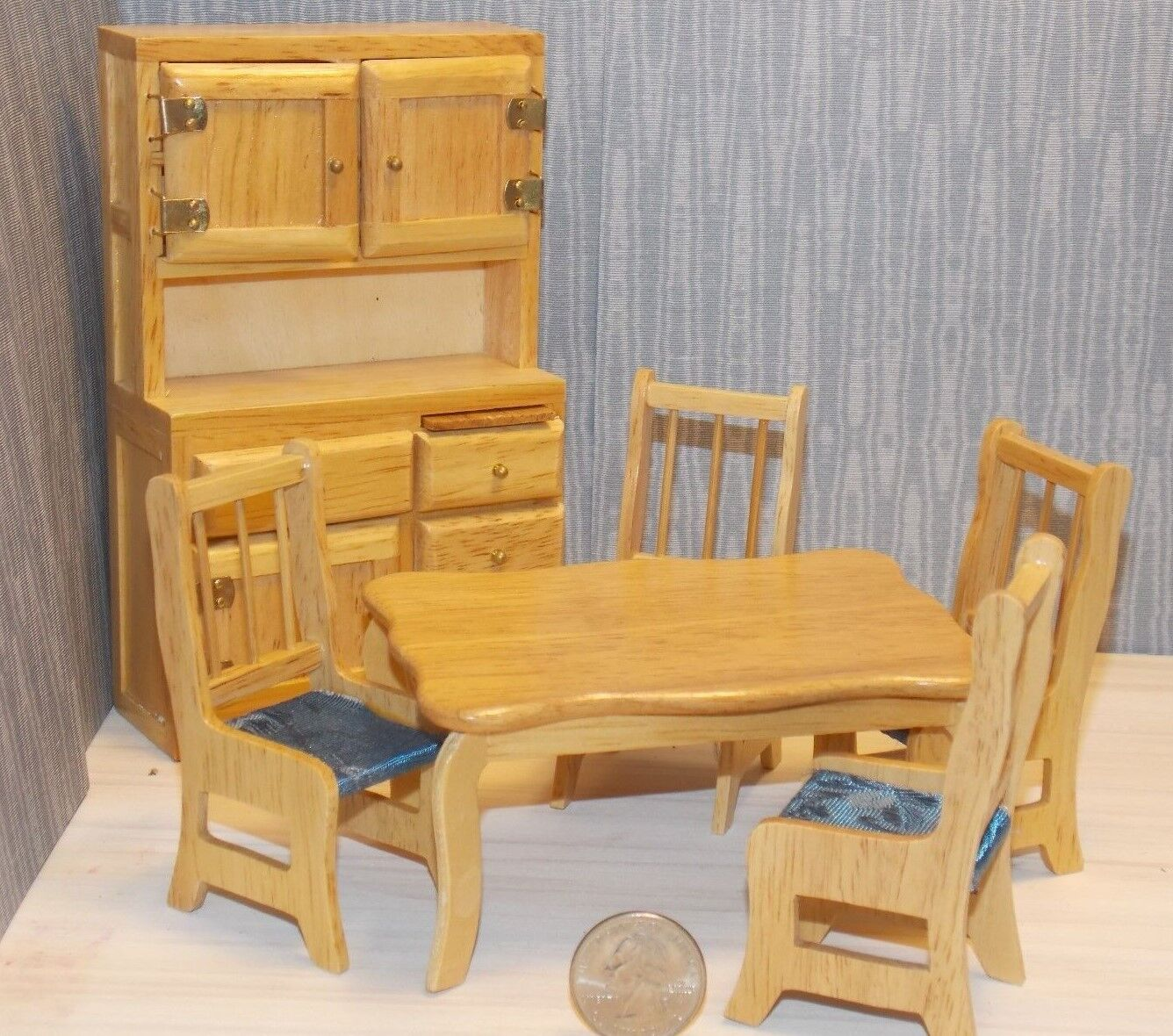 Dollhouse Miniature Dining Table Chairs Hutch 1 1 1 12 Inch Scale G2