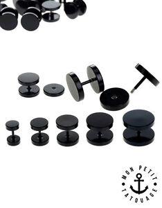 Boucle-D-039-oreille-Faux-ecarteur-Plug-Acier-3-4mm-6mm-8mm-10mm-12mm-14-Noir-Argent