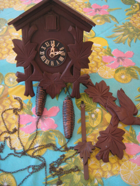Vintage Black Forest Wood Cuckoo Clock GERMANY, Parts or Repairs, Not Tested