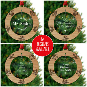 Ebay Regali Di Natale.Personalised Christmas Tree Decorations Bauble Xmas Gifts Teacher