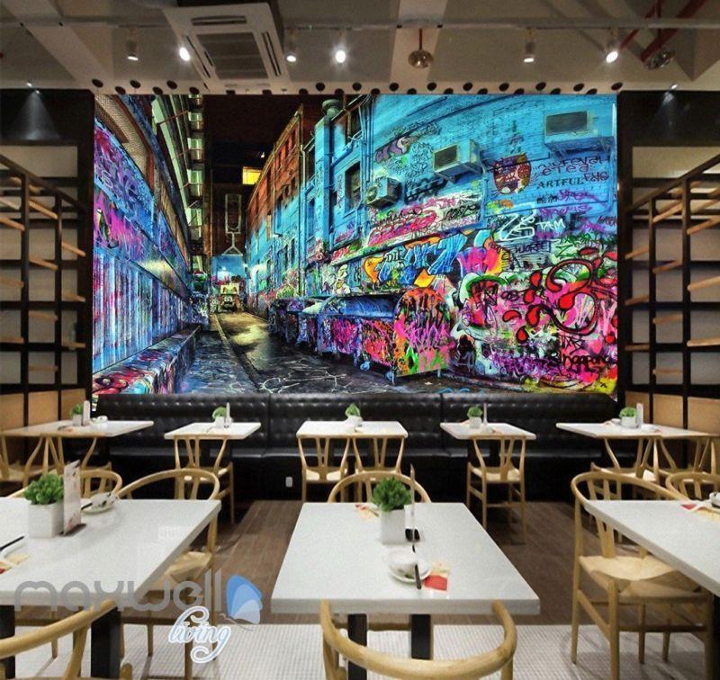 3D Graffiti bluee Street Night Art Wall Murals Wallpaper Art Decals Print Decor